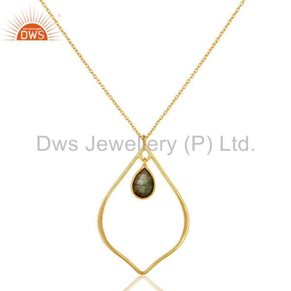 Designer 18K Gold PLated Sterling Silver Pendant Chain Necklace Labradorite