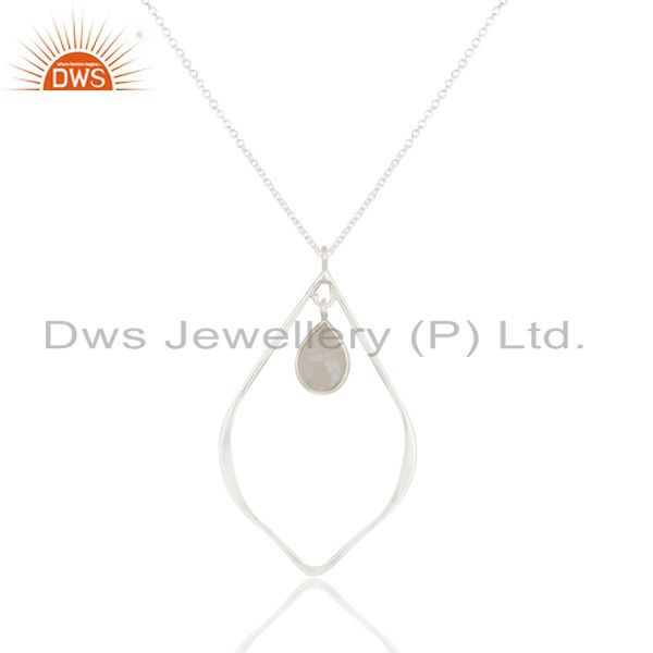 Solid 925 Sterling Silver Rainbow Moonstone Bezel Set Chain Pendant Necklace