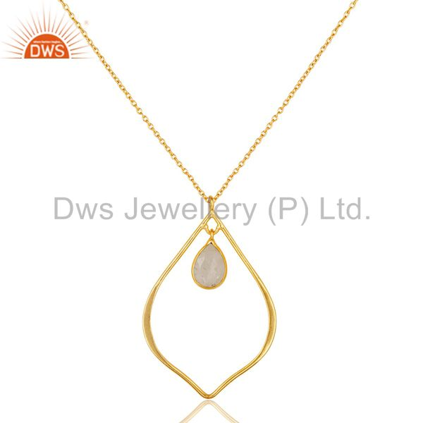 Moonstone 18K Gold PLated Sterling Silver Pendant Chain Necklace