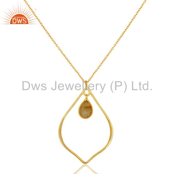 Rutile 18K Gold Plated Sterling Silver Pendant Chain Necklace