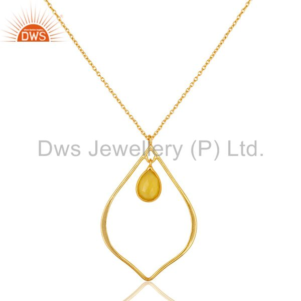 18k gold plated sterling silver chalcedony bazel set chain pendant necklace