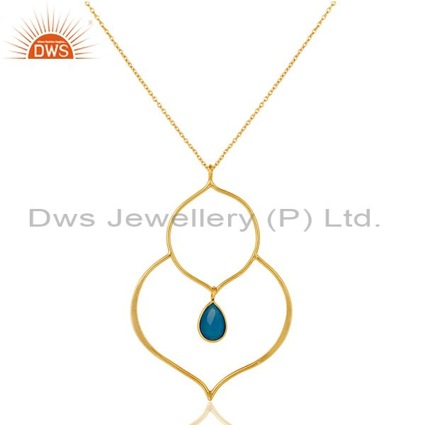 18k gold plated sterling silver bazel set pendant chain necklace with chalcedony