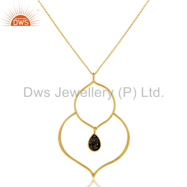 18K Gold PLated Sterling Silver Bazel Set Pendant Chain Necklace with Routile