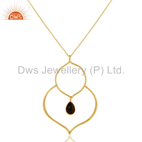 18k gold plated sterling silver set pendant chain necklace with labradorite