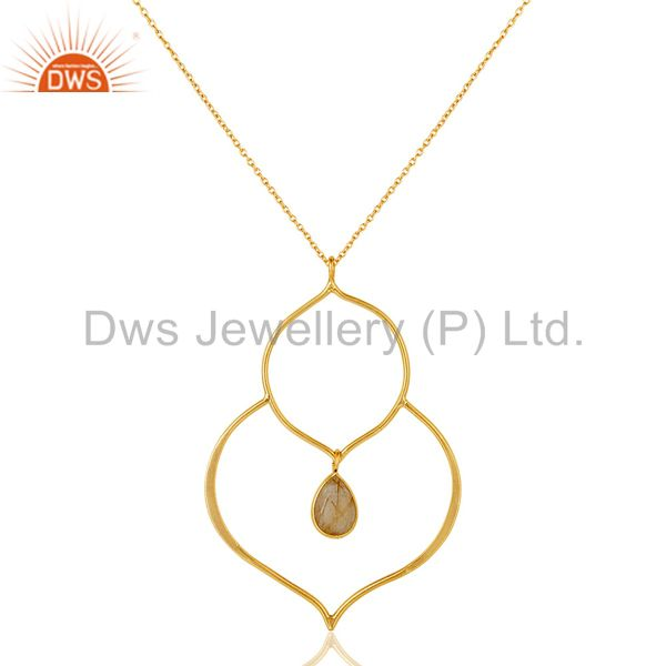 18k gold plated sterling silver set pendant chain necklace with rutile