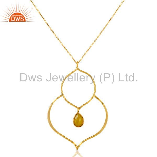 18K Gold PLated Sterling Silver Set Pendant Chain Necklace with Chalcedony