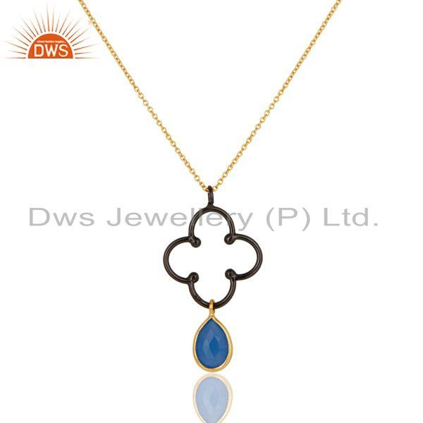 18K Gold Plated & Black Oxidized Sterling Silver Dyed Chalcedony Chain Pendant