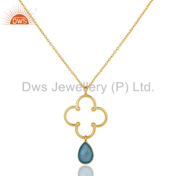 18K Gold PLated 925 Sterling Silver Set Pendant Chain Necklace with Chalcedony