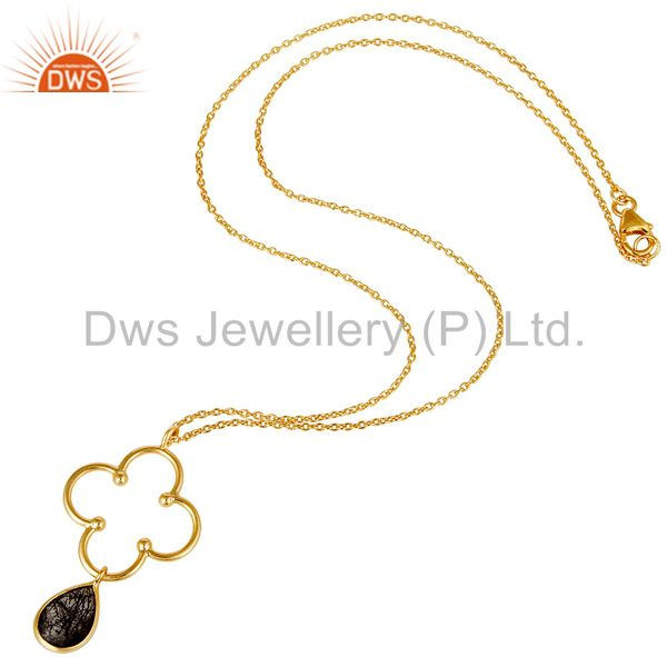 18K Gold PLated 925 Sterling Silver Set Pendant Chain Necklace with Black Routil