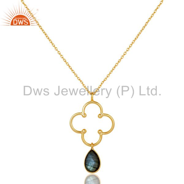 18K Gold PLated 925 Sterling Silver Set Pendant Chain Necklace with Labradorite