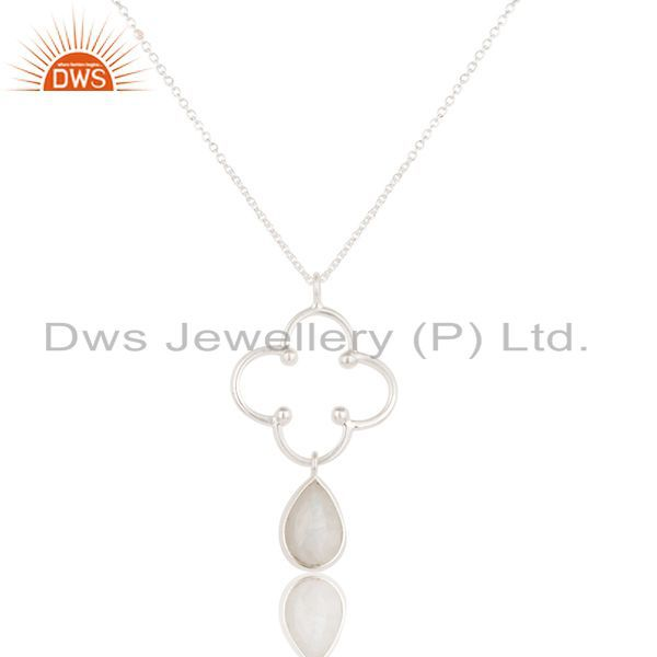 Solid 925 Sterling Silver Handmade Rainbow Moonstone Bezel Set Chain Pendant