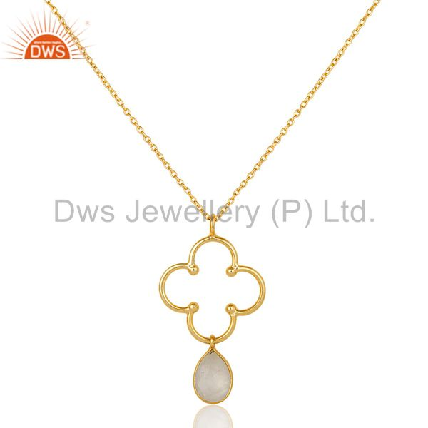 18k gold plated 925 sterling silver set pendant chain necklace with moonstone