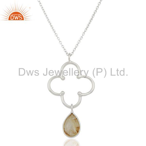 Sterling fine silver designer golden rutile gemstone pendant necklace