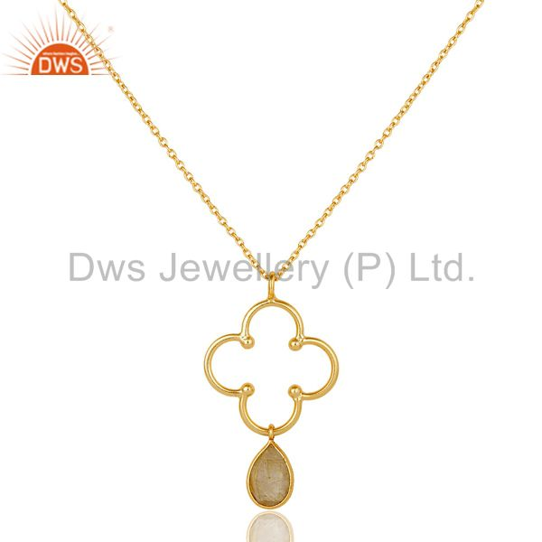 18K Gold PLated 925 Sterling Silver Set Pendant Chain Necklace with Routile