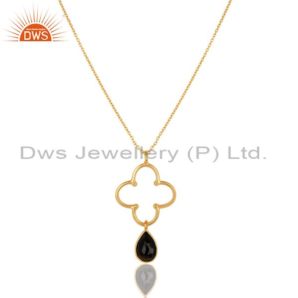 14k yellow gold plated 925 sterling silver smokey topaz chain pendant