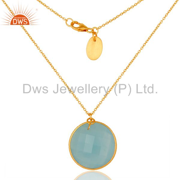 18k gold plated 925 sterling silver cultured aqua stone bezel set chain pendant