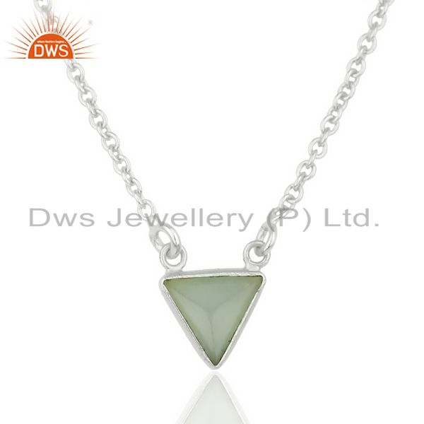 Aqua Chalcedony Triangle Small Pendant,Trendy Pendent Sterling Silver Jewelry