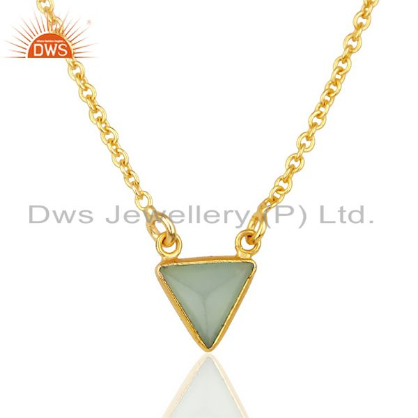 Aqua Chalcedony Triangle Small Pendant,Trendy Pendent Gold Plated Silver Jewelry