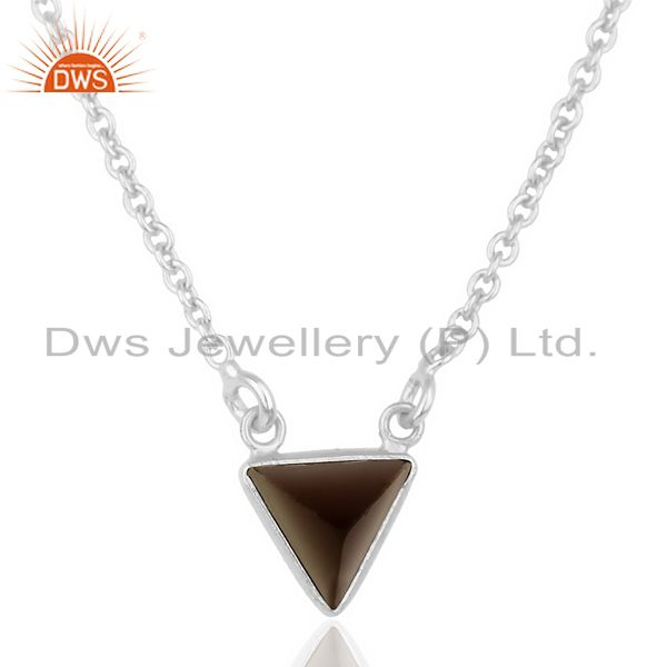 Smoky Topaz Triangle Small Pendant,Trendy Pendent Sterling Silver Jewelry
