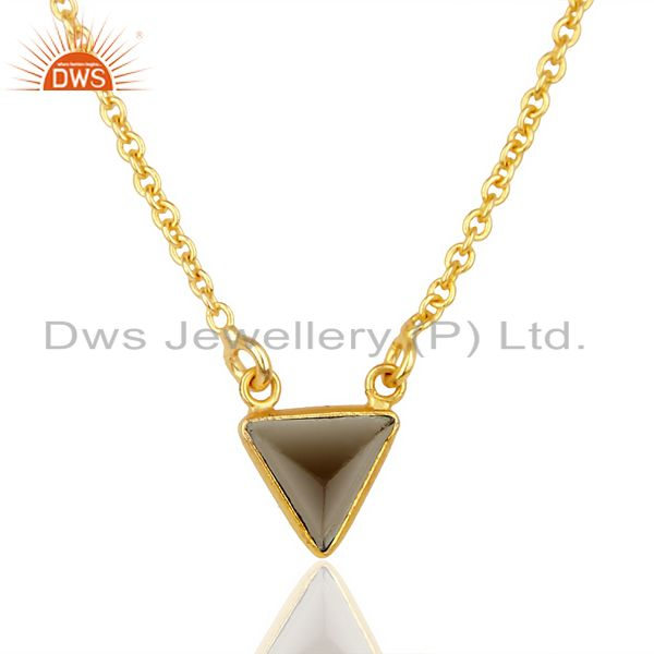 Smoky topaz triangle small pendant, trendy pendent gold plated silver jewelry