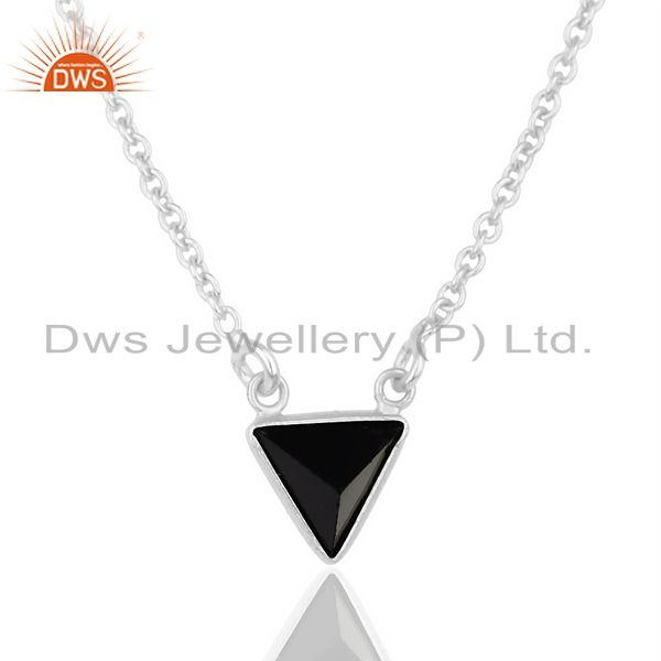 Black Onyx Triangle Small Pendant,Trendy Pendent Sterling Silver Jewelry
