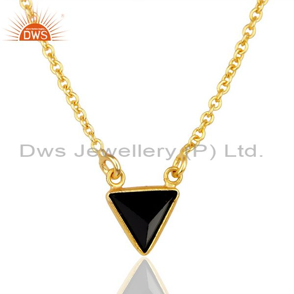 Black Onyx Triangle Small Pendant,Trendy Pendent Gold Plated Silver Jewelry