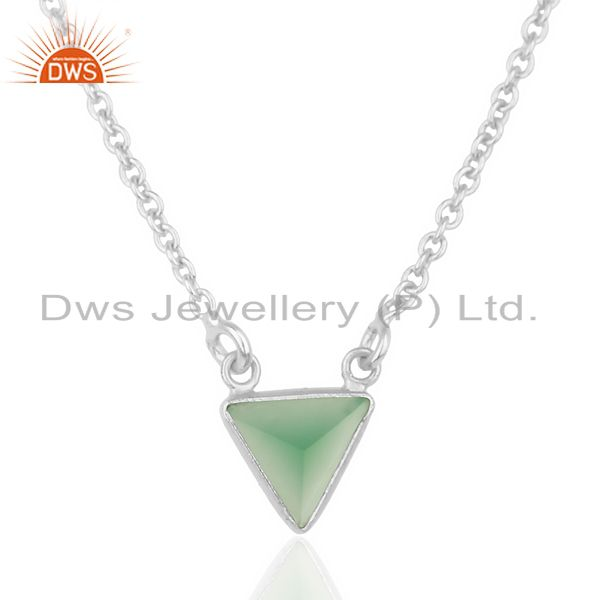 Green Onyx Triangle Small Pendant,Trendy Pendent Sterling Silver Jewelry