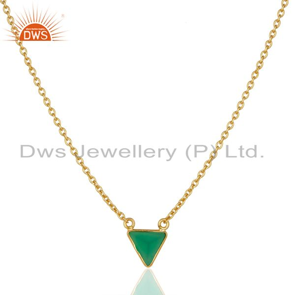 Green Onyx Triangle Small Pendant,Trendy Pendent Gold Plated Silver Jewelry