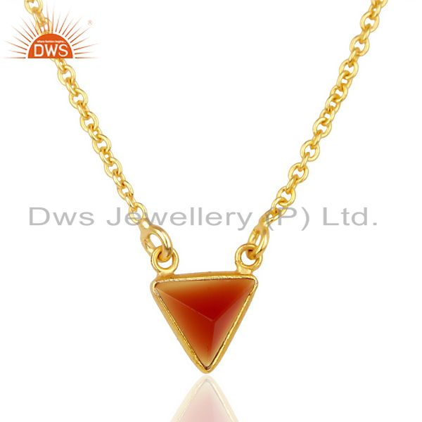 Red Onyx Triangle Small Pendant,Trendy Pendent Gold Plated Silver Jewelry