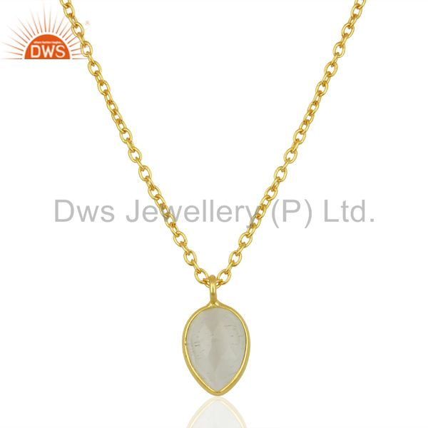 White moonstone pear shape 18k gold plated 925 sterling silver chain pendant