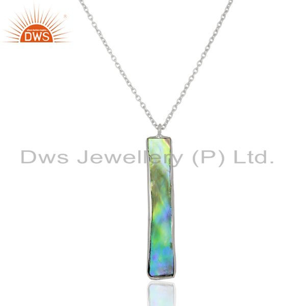 Natural Abalone Shell Rectangle Sterling Silver White Rhodium Plated Pendants