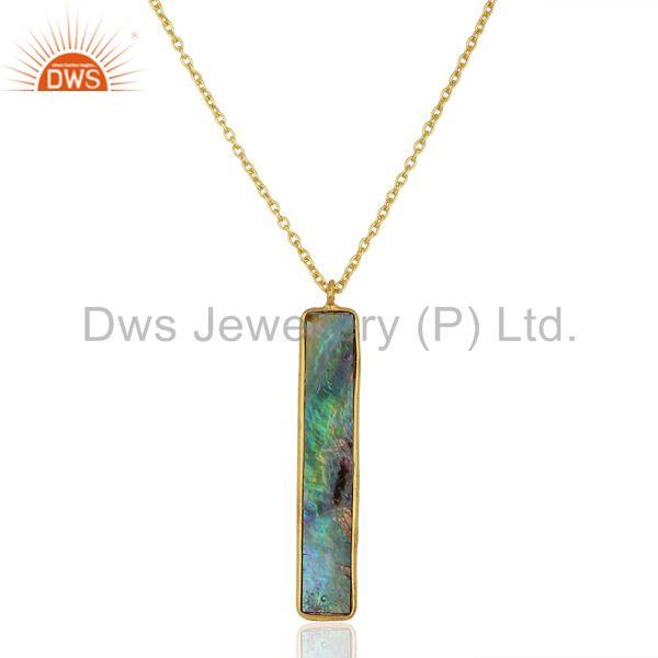 Abalone shell rectangle 925 sterling silver 18k gold plated pendant and necklace