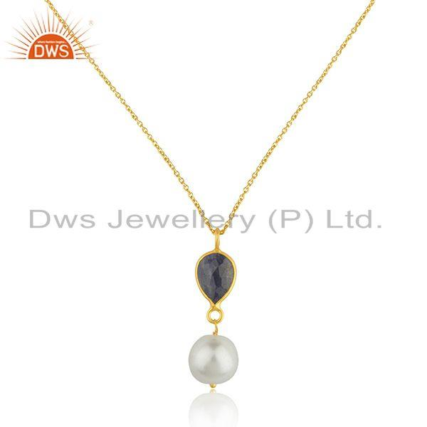 18k Yellow Gold Plated 925 Silver Pendant Natural Pearl Corundum Pendants India