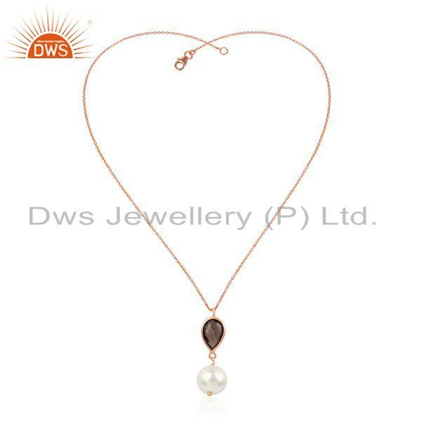 Smoky quartz pearl rose gold plated 925 silver chain pendant jewelry