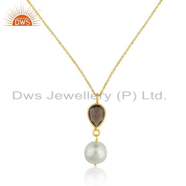 Smoky quartz and pearl 92.5 silver gold plated chain pendant manufacturer india