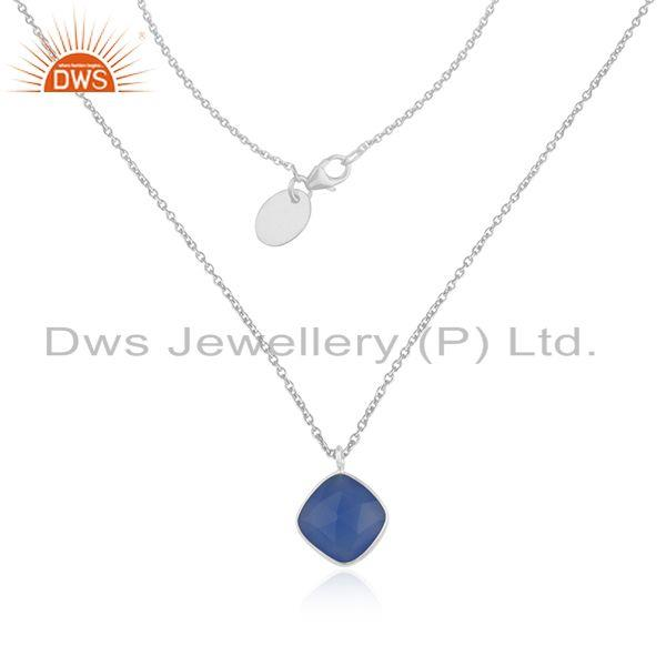 Blue chalcedony gemstone fine sterling silver chain necklace wholesale