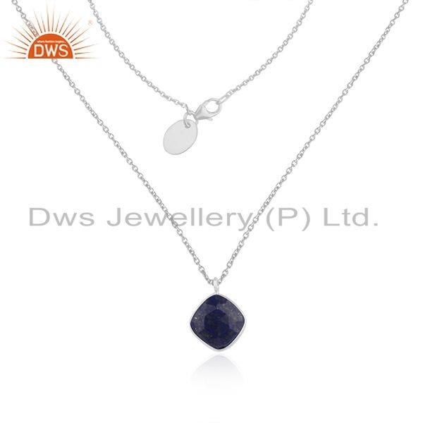 Lapis Lazuli Gemstone 925 Sterling Silver Chain Neckalce Manufacturer of Pendant