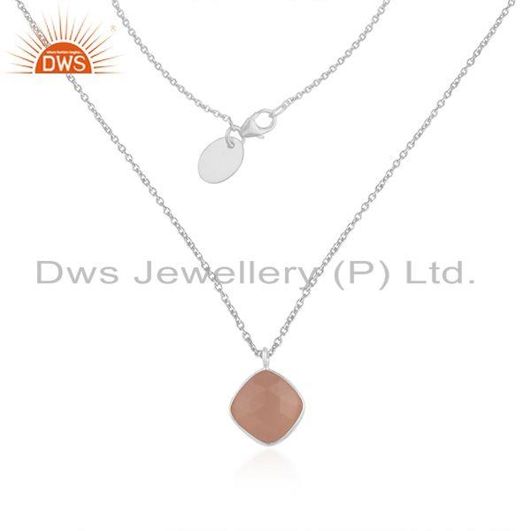 Rose chalcedony gemstone fine sterling silver chain pendant manufacturer