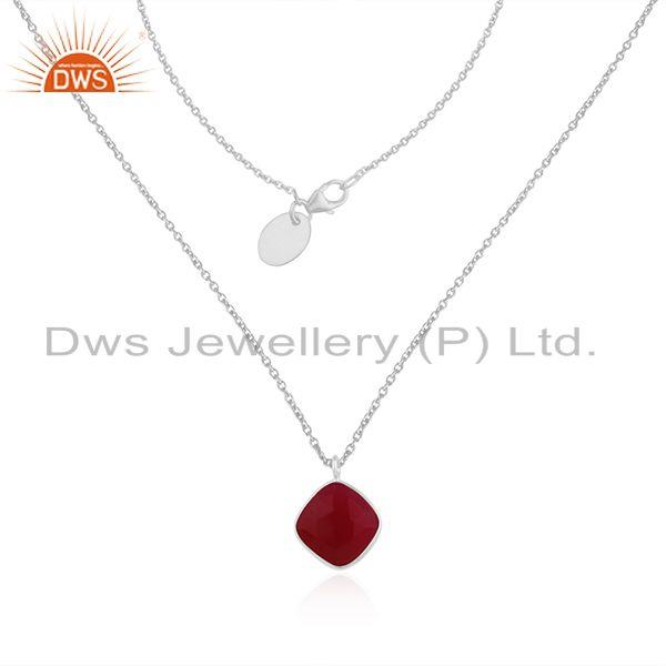 Pink chalcedony fine sterling silver chain pendant necklace jewelry manufacturer