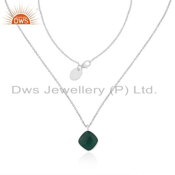 Green Onyx Gemstone Fine Sterling Silver Handmade Necklace Wholesale