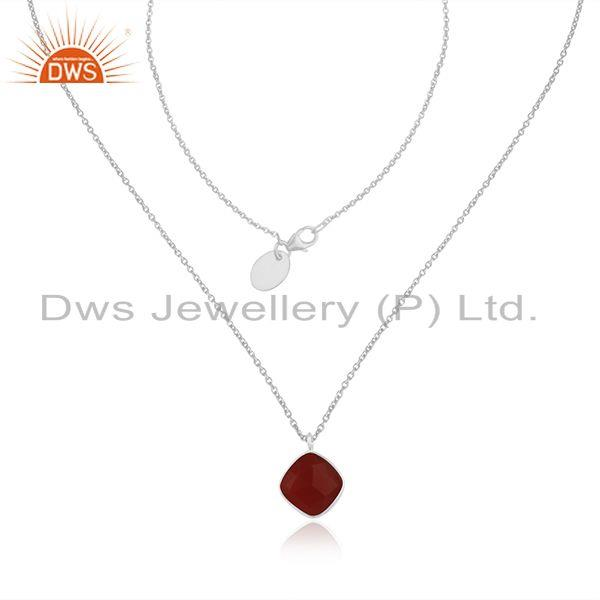 Red onyx gemstone fine sterling silver chain necklace manufacturer india