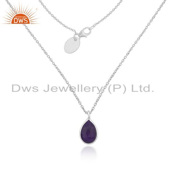 Aventurine Purple Gemstone Fine Sterling Silver Chain Necklace Pendant Wholesale
