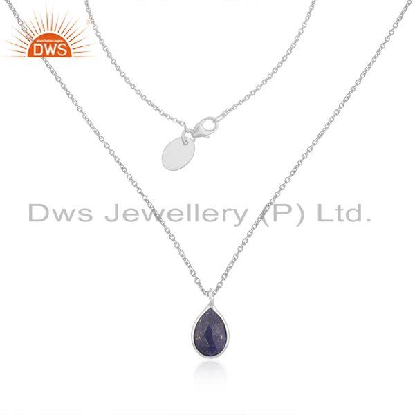 Lapis Lazuli Gemstone Fine Sterling Silver Chain Pendant Manufacturer India