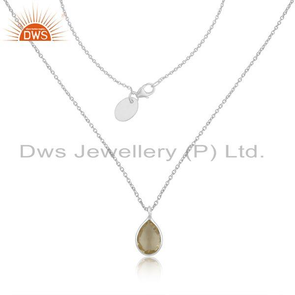 Natural Lemon Topaz Gemstone Fine Sterling Silver Pendant Manufacturer India