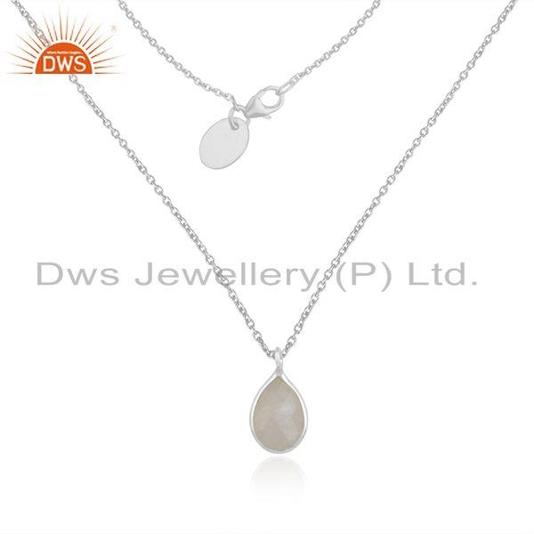 Rainbow moonstone 925 sterling fine silver chain pendant necklace manufacturer