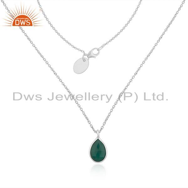 Green onyx gemstone fine sterling silver chain necklace wholesaler india