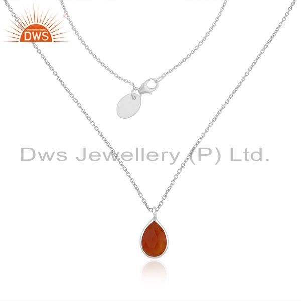 Handmade fine sterling silver red onyx gemstone chain pendant necklace wholesale
