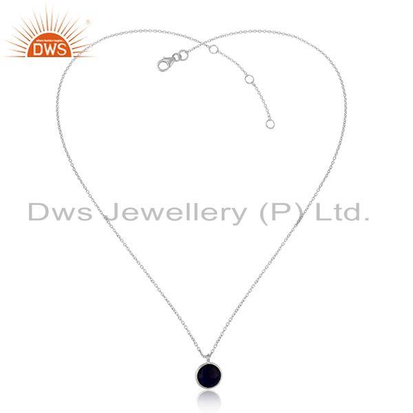 Handmade Dainty Necklace in Silver 925 with Cultured Blue Corundum
