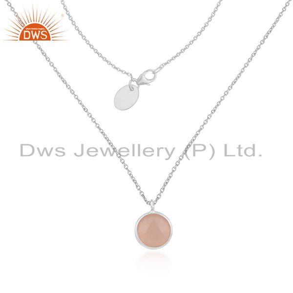 Rose Chalcedony Gemstone Fine Sterling Silver Chain Necklace Manufacturer Jaipur