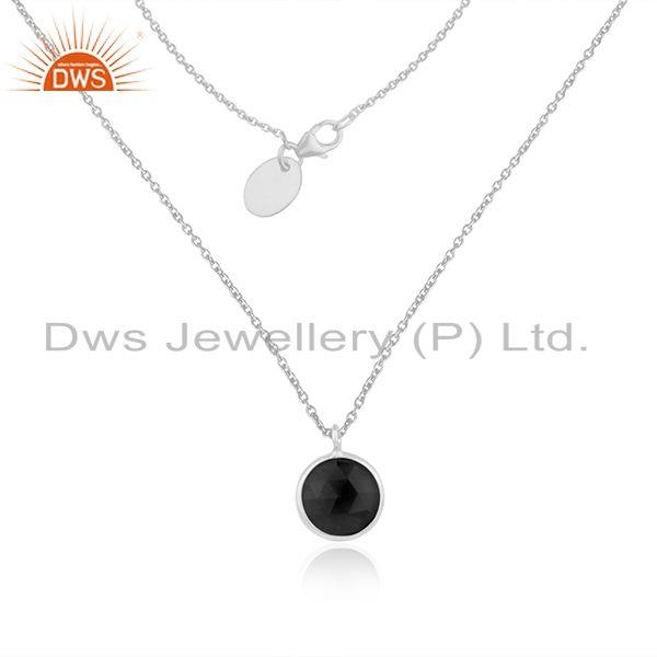 Black Onyx Gemstone Handmade Fine Sterling Silver Chain Pendant Wholesaler India